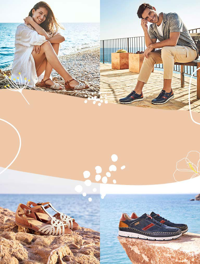 Talavera. W3D-0668C1. Leather sandal for women with reinforcement on the heel and tied to the ankle in white. Fuencarral M4U-6046C1. Men's sportswear with stitched details on the floor and extra light sole.
