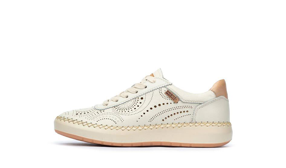 Mesina W6B-6996. Women's sneakers with punched leather featuring circular patterns.