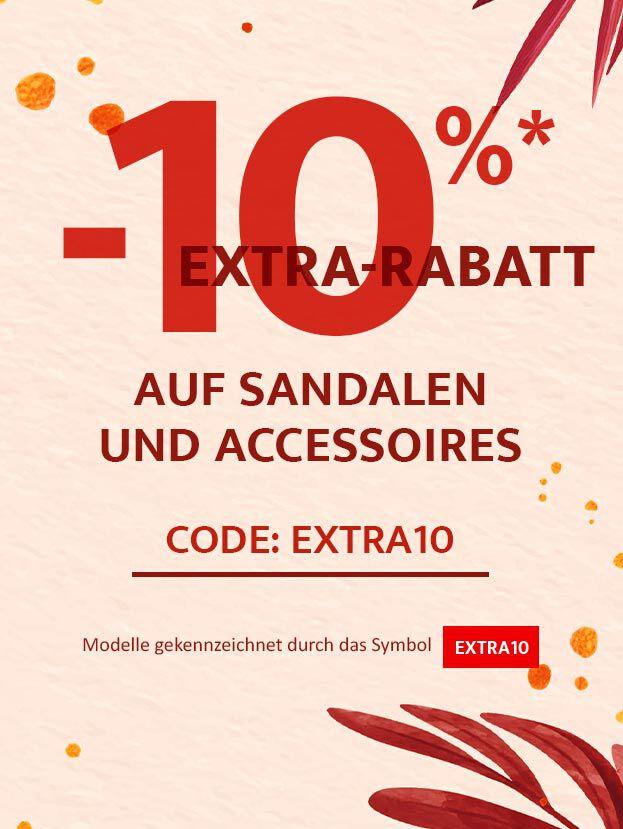 Ja! 10% Extra-Rabatt auf Sandalen und Accessoires!! Code: EXTRA10